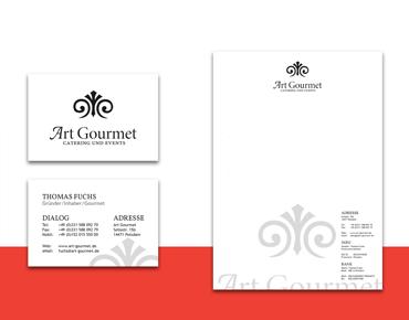 Visitenkarte und Briefpapier für Art Gourmet Webseite