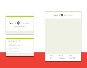 Visitenkarte und Briefpapier für Seehof Wünsdorf